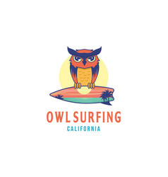 owl surfing logo design inspiration with a sunset vector image