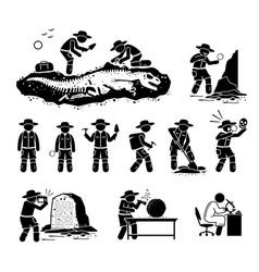 Paleontologist scientist digging dinosaur bone vector