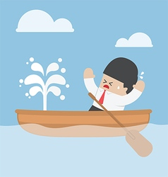 Panic businessman with leaking boat vector image
