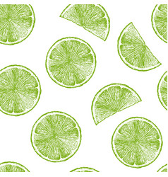 pattern with lime wedges vector image