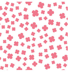 Pink flowers print on white vector