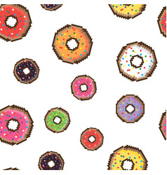 pixel style delicious donut seamless pattern vector image