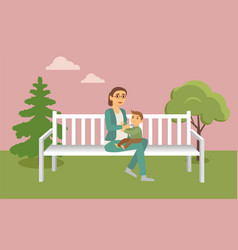 pregnant woman having feeding son in park vector image