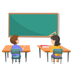 Pupils sitting in classroom with blackboard vector