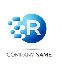 R letter splash logo blue dots and circle bubble vector