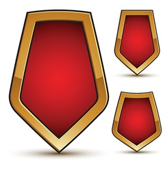Refined three red shield shape emblems with golden vector