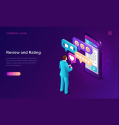 review and rating isometric landing page banner vector image