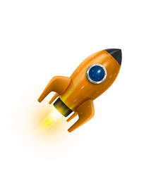 Rocket icon 3d realistic orange object white vector