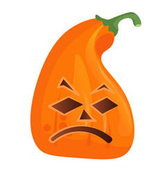 Sad creepy pumpkin isolated on white background vector