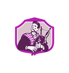 Scotsman Playing Bagpipes Shield Retro vector image
