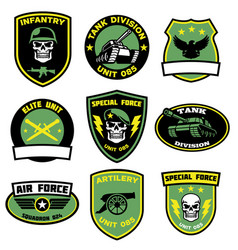 set badges military in bundle vector image