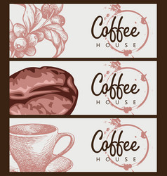 set banners on theme coffee house vector image