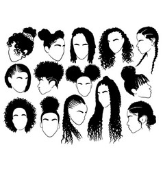 Set female afro hairstyles collection of vector