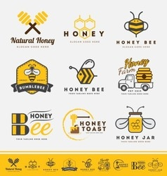 set honey bee logo and labels for honey product vector image