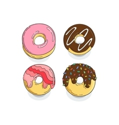 Set of Donut Icons Cakes glaze fried sweets vector image