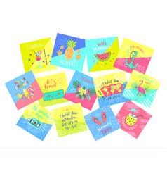 Set of summer color hand-lettering labels vector