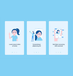 set of vertical banner with girl and modern gadget vector image