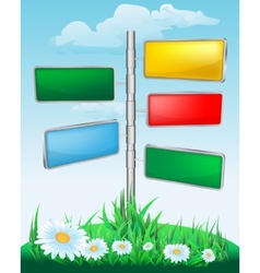 signpost on the meadow with flowers vector image