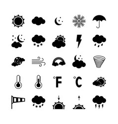 Silhouette weather icons set flat vector