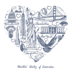 sketches of symbols of the usa in the form of a vector image