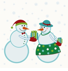 Snowmen give gifts vector image