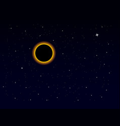 Solar eclipse on stars sky total eclipse in dark vector