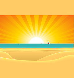 Summer beach with sailboat postcard background vector