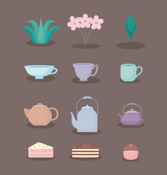tea time color pastel pastel set icons vector image