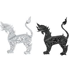 Thai traditional tattoo tiger tattoo vector