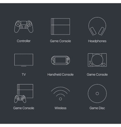 Thin line video game console linear icons set vector image