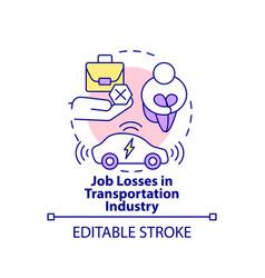 Transportation industry job losses concept icon vector
