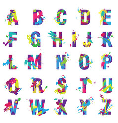 Trendy letters alphabet painted by color vector