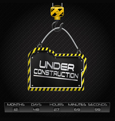 under construction hanging board vector image