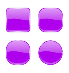 violet glass buttons shiny geometric 3d icons vector image