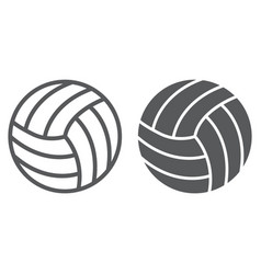 volleyball line and glyph icon game and sport vector image
