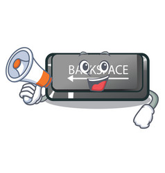 With megaphone button backspace isolated in the vector