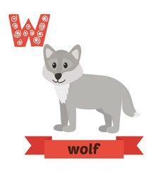 Wolf W letter Cute children animal alphabet in vector image