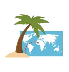 World map and palm tree vector