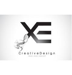 Xe letter logo design with black smoke vector