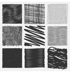 Collection of backgrounds with linear doodles vector image