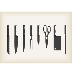 Icons of kitchen knifes vector image vector image