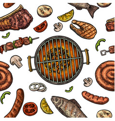 seamless pattern barbecue grill top view charcoal vector image