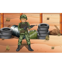 A brave soldier in the battlefield vector