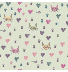 A seamless pattern of cats footprint vector image vector image