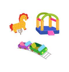 amusement park objects icon set vector image vector image