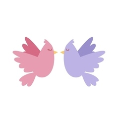 Cartoon couple of doves in love icon vector image