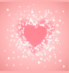 heart shape pink confetti splash with pink heart vector image vector image
