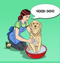 pop art happy woman washing dog vector image vector image