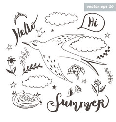 set with swallow vector image vector image