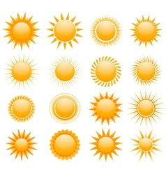 suns icons collection vector image vector image